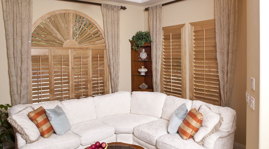 Sunburst Arch Ovation Wood Shutters In Miami Living Room