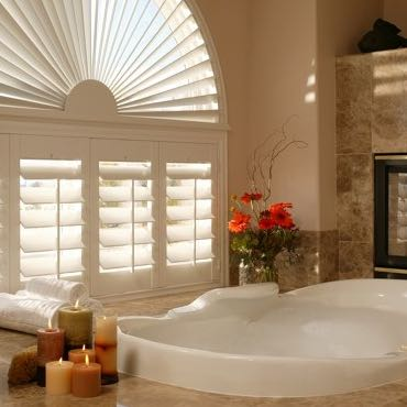 Miami bathroom plantation shutters.