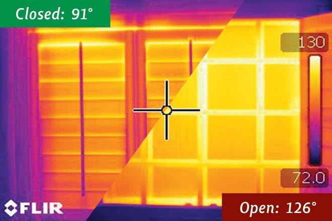 Infrared Picture Showing How Polywood Shutters Block Up To 30 Degrees Of Temperature