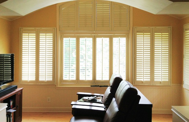 Miami plantation shutters in entertainment room