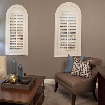 Miami family room plantation shutters.