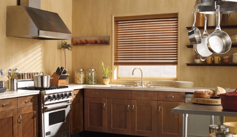 Miami kitchen faux wood blinds.