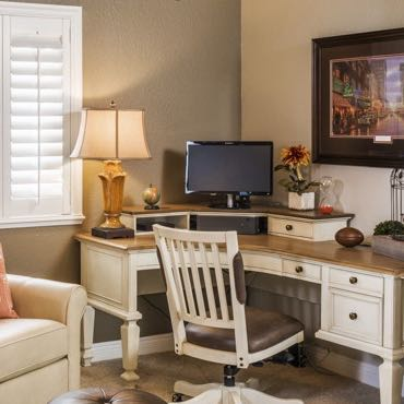 Miami home office interior shutters.