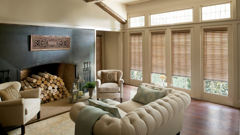 Miami fireplace with blinds