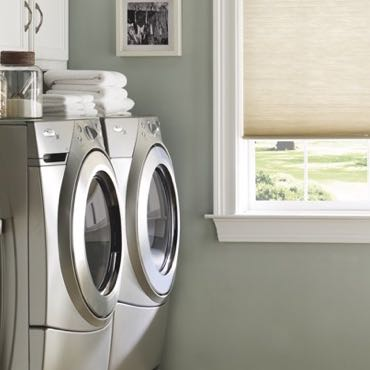 Miami laundry room pull-down shades.