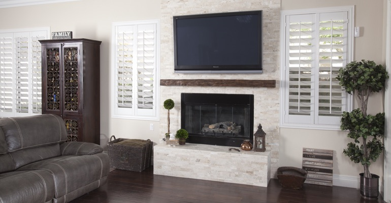 polywood shutters in Miami family room