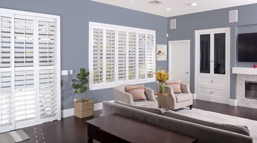 Faux Wood Shutters In modern Miami Living Room