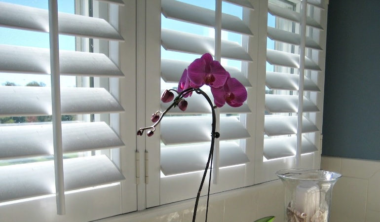 Faux wood plantation shutters in Miami