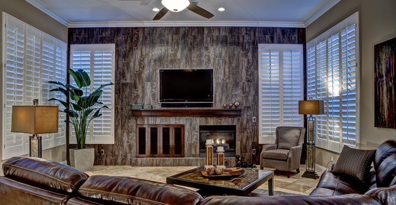 Miami living room with shutters