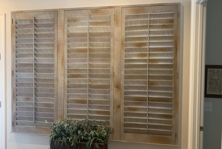 Closed reclaimed wood shutters in Miami