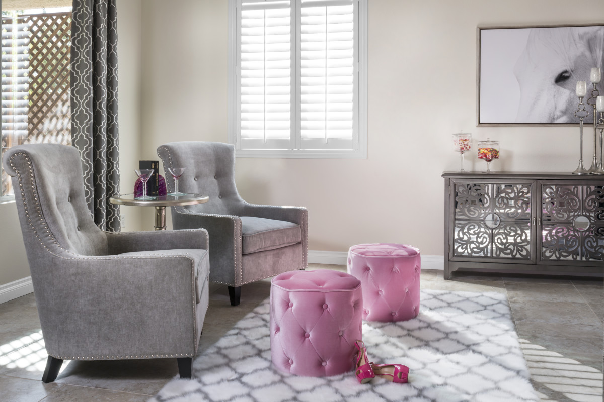 Miami pink living room with shutters