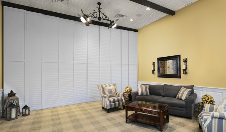 Shutters as a room divider for a business