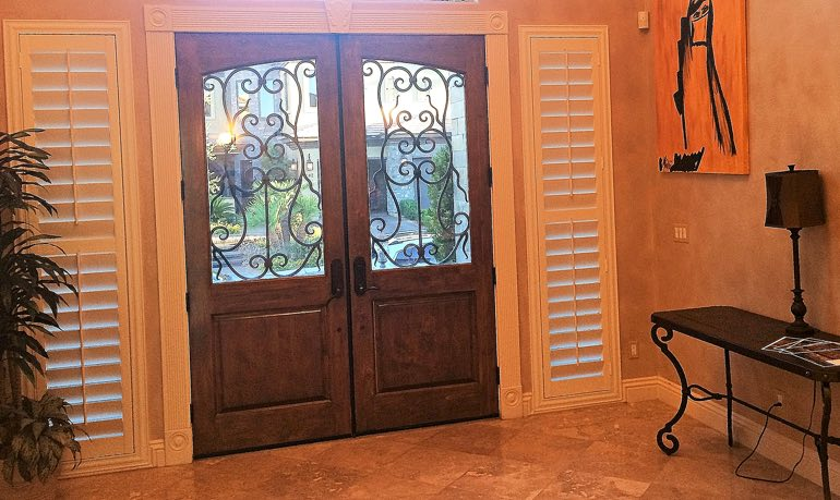 Miami foyer door with shutters
