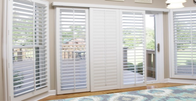 [Polywood|Plantation|Interior ]211] shutters on a sliding glass door in Miami