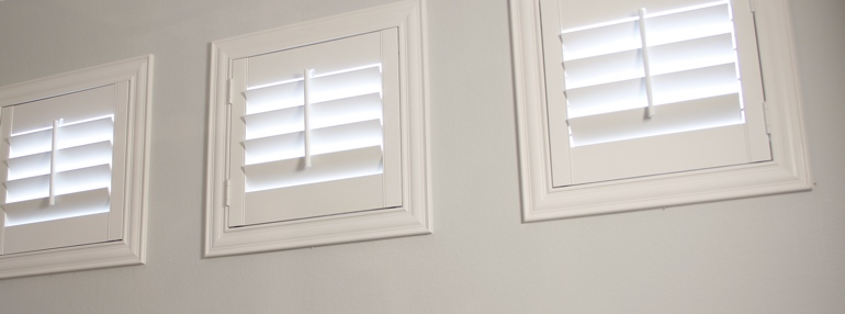 Small Windows in a Miami Garage with Plantation Shutters