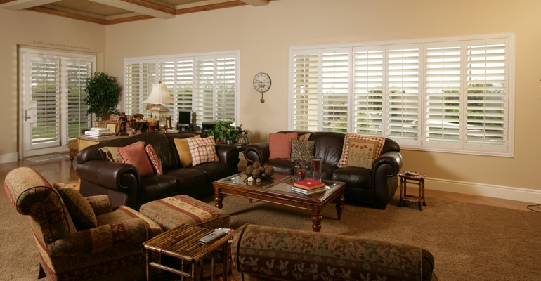 Miami family room with polywood shutters.