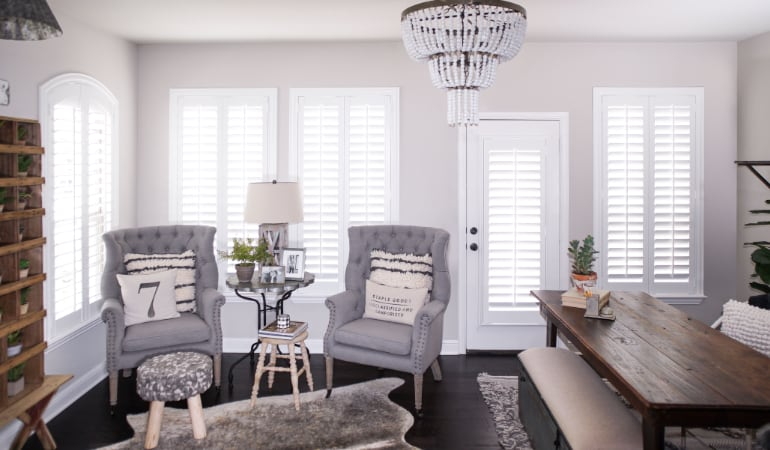 Plantation shutters in a Miami living room