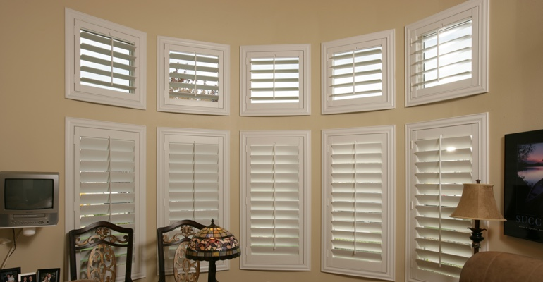 Bay window shutters Miami home office
