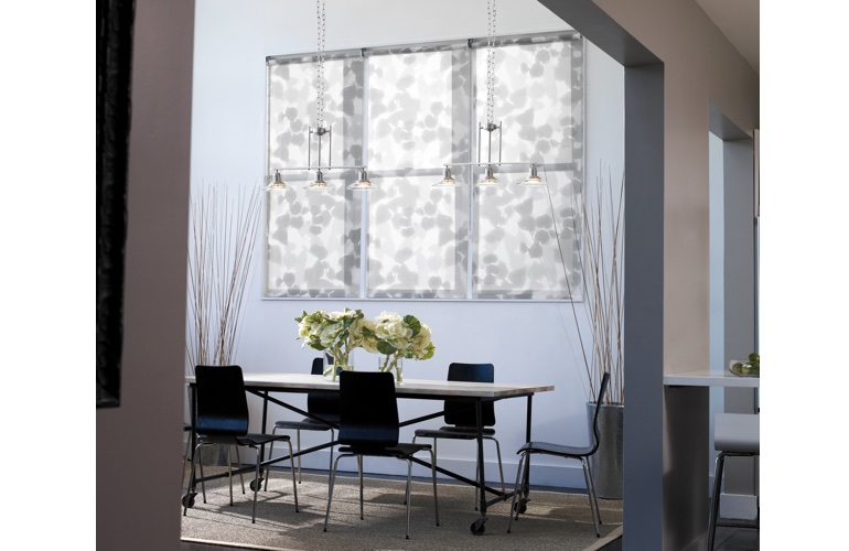 Roller shades in a contemporary room