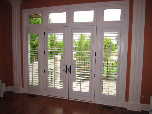 Miami patio door with sidelight shutters