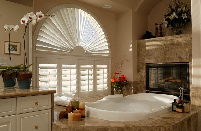 Our Professionals Installed Shutters On A Sunburst Arch Window In Miami, FL