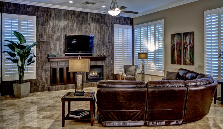 Plantation Shutters In A Miami Living Room.