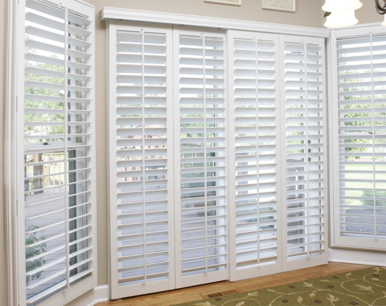Sliding glass door with plantation shutters Miami